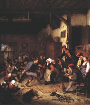 Adriaen Jansz Van Ostade : Merrymakers in an Inn